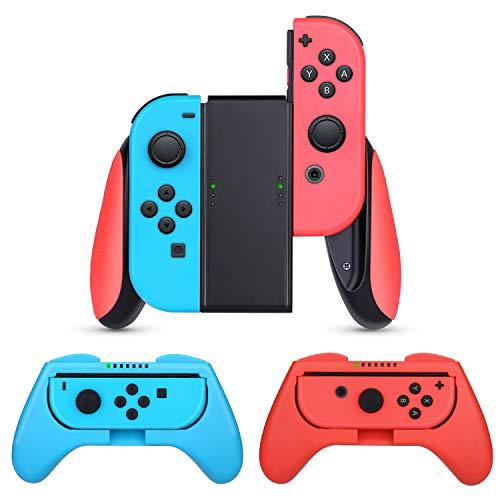 HEYSTOP Grip Kompatibel mit Nintendo Switch Joy-Con, 3 Stück Komfort Gamepad Controller Schutzhülle Griff Kits Kompatibel mit Nintendo Switch JoyCon,Rot und Blau