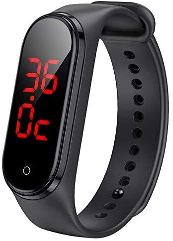 Reloj inteligente con termómetro de pulsera, pulsera conectada al agua IP67 con correa deportiva, pantalla táctil LED, visualización de la hora y la temperatura, procesador de bajo consumo