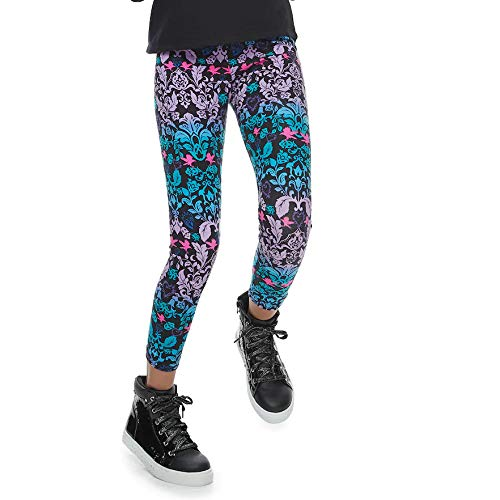 Disney Girls Descendants Floral Pattern-Sequin Leggings Pants, Black/Multi, Medium