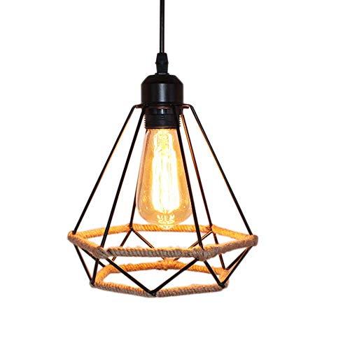Lámpara Colgante Vintage,cuerda de cáñamo Retro Lámpara de Techo Colgante industrial, Lámpara de suspensión de jaula de hierro con forma de diamante Luces de techo,Luz colgante creativa (20CM-1)