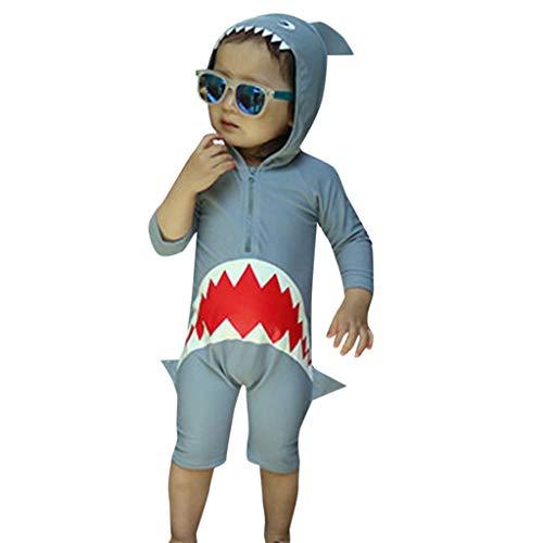 luoluoluo Kinder Badeanzug Haifisch Jungen Mädchen Einteilige Badeanzüge mit Reißverschluss Bademode mit Kapuze Strandkleidung Tankini für 2-7 Jahre (Grau, M/90)