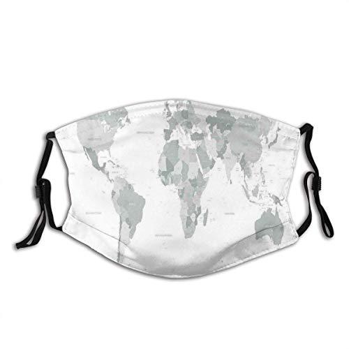 Jopath Graue Weltkarte Kontinent Erde Druck Staubgesichtsabdeckung Waschbar Wiederverwendbar, Staubdicht, Radfahren