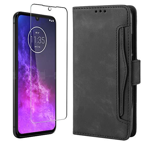 MARR Motorola One Zoom Lederhülle & Panzerglas Handyhülle PU Leder Tasche Schutzhülle für Motorola One Zoom (Schwarz)