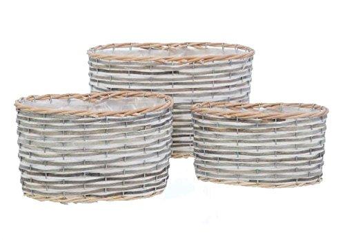 Lashuma bloempot tope, 3X pot ovaal van grijze wilgentenen mandje maten: 29 x 20 cm, 26 x 16 cm en 22 x 13 cm