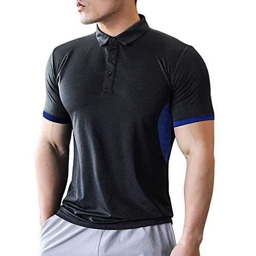 Hommes Polo Court Manche Chemises Coupe sèche Le Golf T-Shirt pour Men Tshirts Noir XL