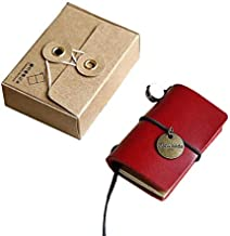 Chris.W Tiny Handmade Refillable Leather Travelers Notebook Journal - with 2 Blank Refills, 1 Brass Pendant and Gift Pack - 5.5cm x 4cm(Mini Size) Red