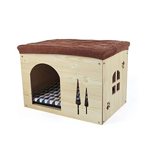 SONGWAY Casa de Madera pour Perro Gato - Taburete Caseta para Mascota con Cojín Extraíble para Cachorro y Gato, 57×40×40cm