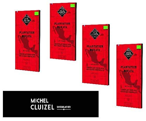 Michel Cluizel Organic Chocolate Bar Fondant Cocoa 66% Plantage Mokoya Mexico Reine Kakaobutter Vanille Bourbon ohne Soja ohne Geschmack - 4 x 70 Gram