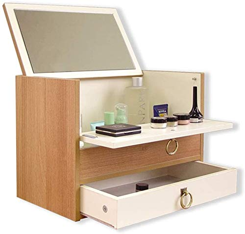Wooden Wall Frame Jewelry Box, with Mirror Mini Suitcase, Strong Stability,A