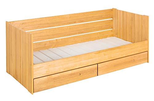BioKinder Lina Sofabed Functioneel bed Stapelbed met lattenbodem en 2 bedladen van massief hout Elzen 90 x 200 cm