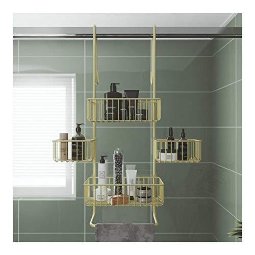 L.W.S Bathroom Rack Estante de Ducha Estante de Esquina de ba?o sin Taladro Soporte de Almacenamiento Estante de Ducha con Ganchos a Prueba de Herrumbre Impermeable 3 Niveles
