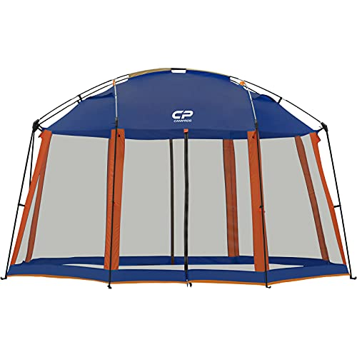 CAMPROS Screen House 13 x 13 Ft Screened Mesh Net Wall Canopy Tent Screen Shelter Gazebos for Patios Outdoor Camping Activities - Blue