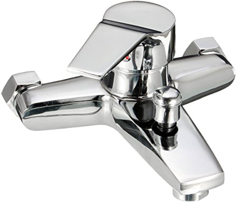 BZAHW Messing Chrom Wandhalterung Waschbecken Wasserhahn heies kaltes Wasser einstellbar