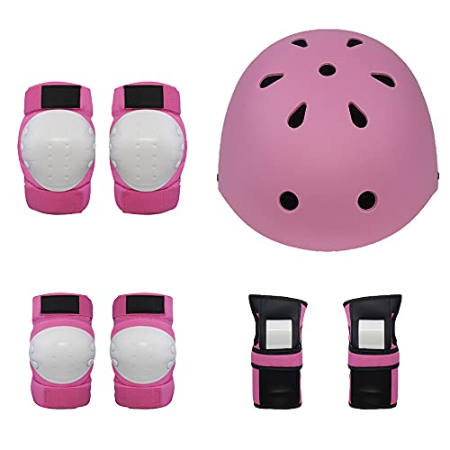 DDH 7-piece child protection equipment, helmet, knee pads, elbow pads, wrist pads, for bicycles, skateboards and roller skating-Pink||S
