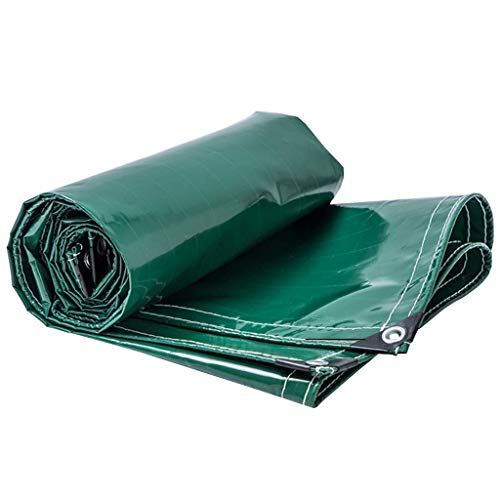 XQY Shade Net,Tarpaulin Rainproof Outdoor Sun Protection Awnings Cover Cloth Linoleum Shed Cloth Waterproof Ground Sheet Covers with Eyelets,500G/M² - Green,4Mx7M