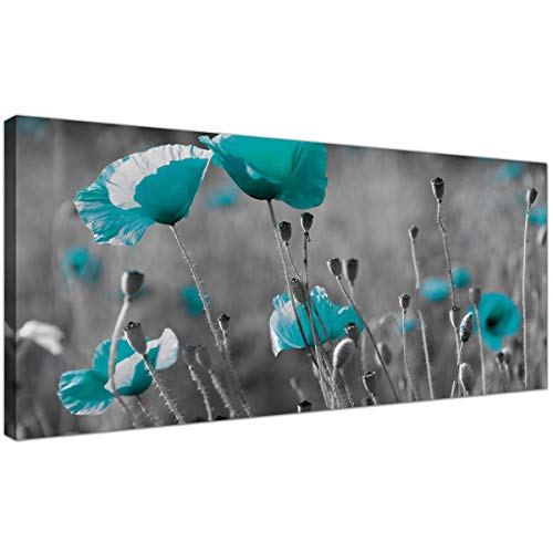 Modernas impresiones en lienzo de Amapolas en blanco y negro –Arte grande para pared de flores azul turquesa–1139–Wallfillers®