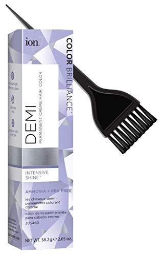 ION Color Brilliance DEMI PERMANENT Creme Hair Color Dye, PPD Free, Ammonia Free (w/Sleek Tint Brush) Intensive Shine Cream Haircolor (5G Light Golden Brown - 2.05 oz)