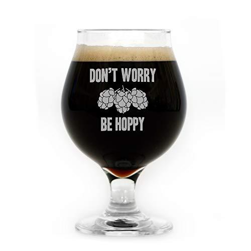 Don't Worry Be Hoppy Engraved Belgian Beer Glass
