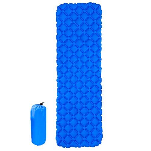 SNCQD-Isomatte Tragbares zusammenklappbares aufblasbares Kissen Schnelles aufblasbares Kissen und rautenförmiges Ei-Mulden-Design Für Camping, Wandern (Royal Blue)