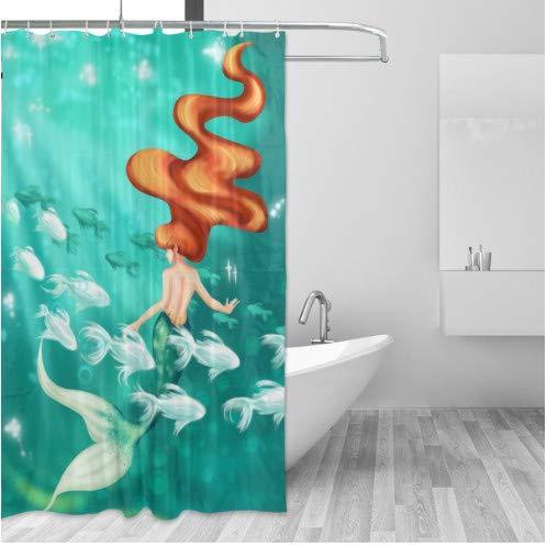 daimin Turquoise Mermaid School Fish Bathroom Shower Curtain Set for Girl 180x180cm with hook