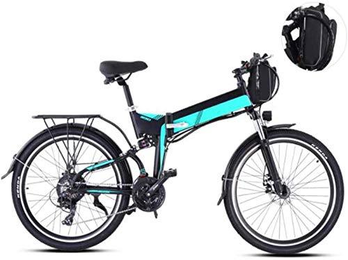 WJSWD Bicicleta eléctrica de nieve de 26 pulgadas, bicicleta eléctrica de 21 velocidades, instrumento LCD para adultos, deportes al aire libre, batería de litio para adultos (color: verde)