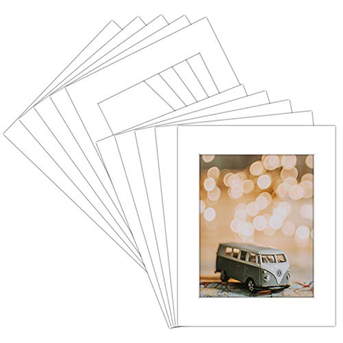 Pack of 10 16x20 WHITE Picture Mats with White Core Bevel Cut for 11x14 Pictures