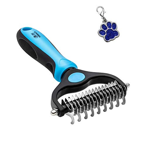 tuniaca Pet Grooming Tool - 2 Sided Undercoat Rake for Dogs & Cats - Safe Grooming & Dematting Comb for Easy Mats & Tangles Removing - No More Nasty Flying and Shedding Hair
