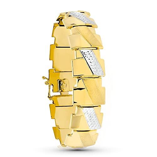Pulsera oro 18k mujer 19.5 cm. bicolor estampación