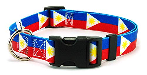 Dog Collar with The Philippines Flag | Great for National Holidays, Special Events, Festivals, Independence Days and Every Day Strong Safe | XSmall Small Medium Large XLarge