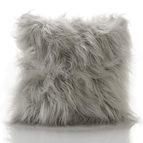 Chic Mohair Mongolian Long Pile Faux Fur Fluffy Filled Cushion/Cover (Silver Grey, Cushion Cover Only)