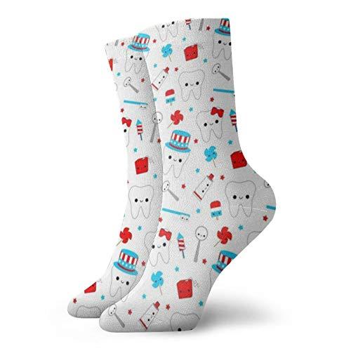 Colin-Design Große patriotische Zähne, weiß, personalisierte Socken, Sport, Athletik, Strümpfe, 30 cm, Crew-Socken für Männer & Frauen