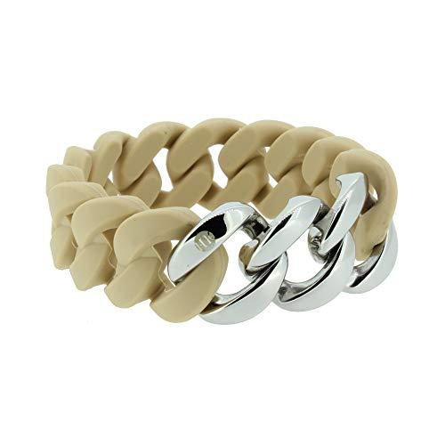 Hanse-Klunker Armband Damen ORIGINAL Silikon Sand, Edelstahl Silber Armreif Armkette Frauen Mädchen Größe 19-20 cm inkl. Schmuck-Geschenk-Box