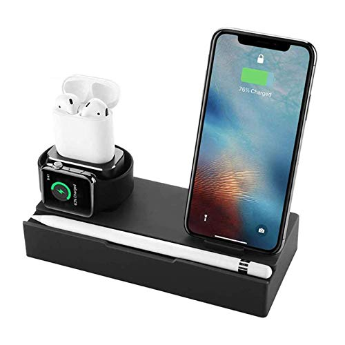 zvcv 5 in 1 Wireless Charging Station,Charging Stand,with Dual USB Port,for AirPods/IWatch Series 5/4/3/2/1/IPhone 11/11 Pro/Xs/X Max/XR/X/8/IPad/Samsung