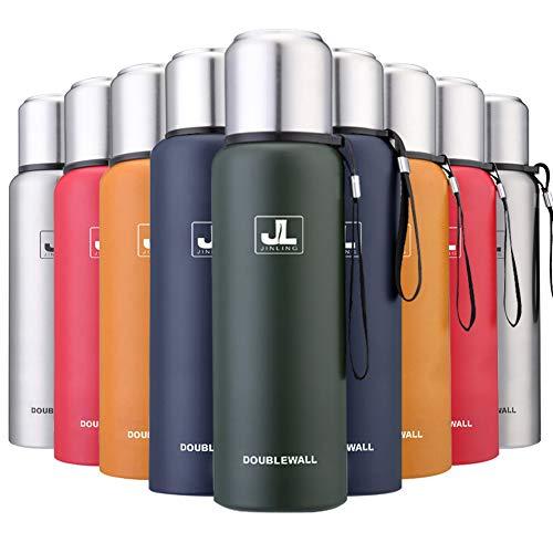 JINLING スポーツボトル 水筒 魔法瓶 真空断熱 保温保冷 大容量 304ステンレス鋼 0.5/0.75/1/1.5リットル (グリーン, 1000ml)