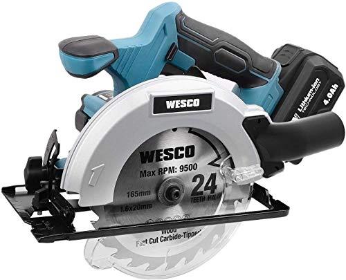 Sierra circular inalámbrica 18 V, sierra de batería de iones de litio, 4,0 Ah, velocidad 4000 rpm, hoja Ø 165 mm, sierra de madera, metal WESCO /WS2316.1