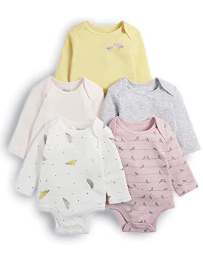 Mamas & Papas 5pack Bird Bodysuits Body, Rosa (Pink S79ggy4), Recién Nacido (Pack de 5 para Bebés