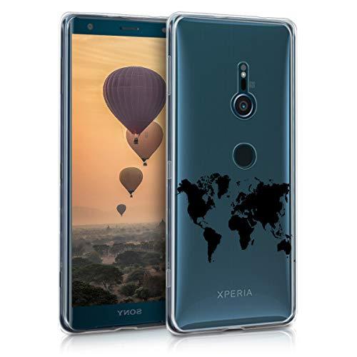 kwmobile Coque Compatible avec Sony Xperia XZ3 - Coque Housse protectrice pour téléphone en Silicone Noir-Transparent