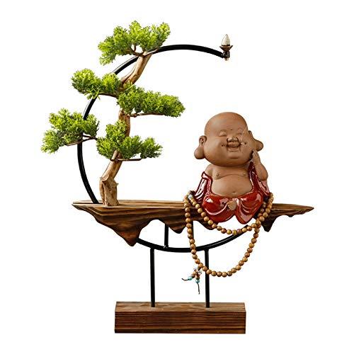 Lsqdwy Árboles Artificiales Plantas de árboles Bonsai Artificiales con Base de Madera Escultura de Buda y Asiento de Incienso para la Oficina en casa D & Eacute; Cor Planta Artificial (Color: A)
