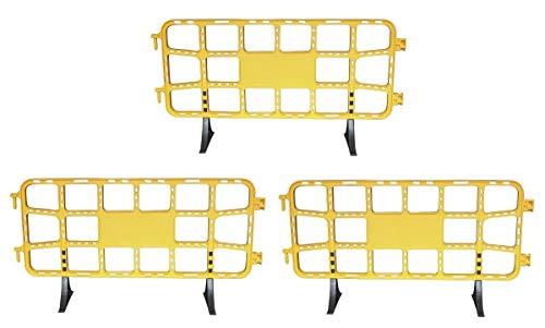 Valla de plástico obra peatonal en color amarillo de de 2 metros con patas extraíbles - 3 Vallas