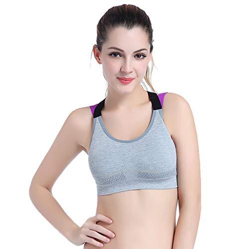 BOIYI Frauen Schönheit zurück Sport-BH Nahtlose Abnehmen Unterwäsche Doppel Schultergurt Weste(Grau,S)