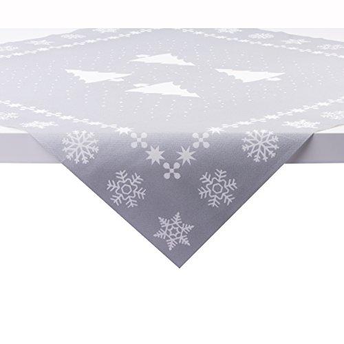 Sovie Home Tischdecke White Tree in Silber | Linclass® Airlaid | Weihnachten Tannenbaum Tischtuch Mitteldecke | 80x80 cm