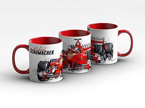 gasoline.gallery Formel 1 Tasse - Michael Schumacher - Scuderia Ferrari - 1999 Front Kaffeebecher Rot