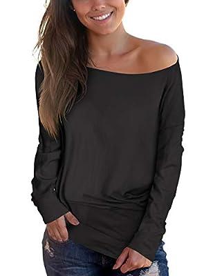 deqiang Women's Long/Short Sleeve Tops V-Neck Shirts Loose Casual Tee Shirt