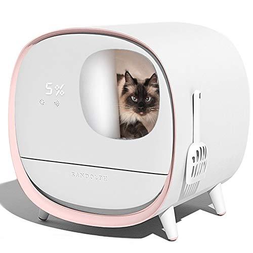 FengJ Cat Litter Box, Automatische intelligente Katzentoilette, Deodorant Spritzwassergeschützt und geräuscharm, saubere elektrische Katzenklo,Rosa