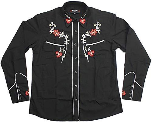 Relco Negro Vaquero Estilo del Oeste Tres Colores Bordado Polialgodón Camisa - Negro, M