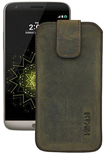 Suncase ECHT Ledertasche Leder Etui für LG G5 | LG G5 SE (mit Rückzugsfunktion & Verschluss) antik-dunkel braun