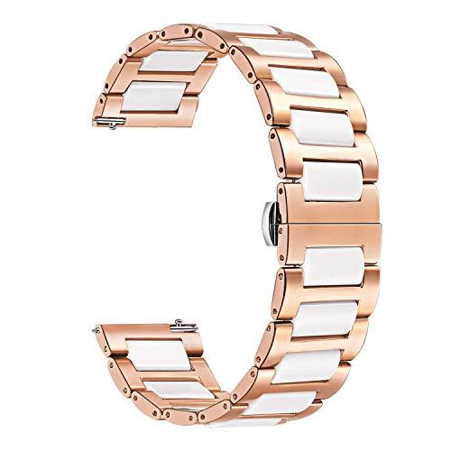 TRUMiRR 18mm cerámica Banda de Reloj de liberación rápida Correa Todos los Enlaces extraíble para Huawei Reloj, Huawei Fit Honor S1, ASUS ZenWatch 2 WI502Q 2015, Withings Activite/Acero/Pop