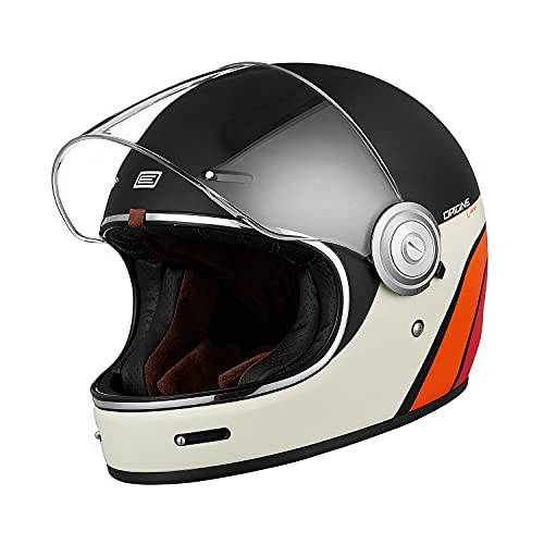 Origine Casco Moto Integral Vintage Gran Calidad ECE 22-05 Homologado Cáscara de Fibra de Vidrio con Visera