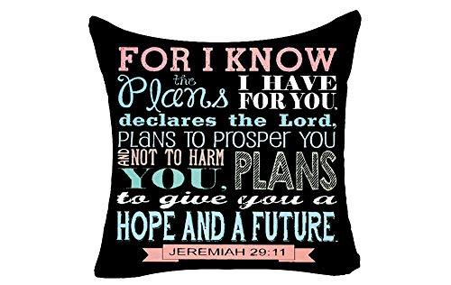 """Doble Cojines Fundas 18"""" Porque sé los Planes Que Tengo para ti declara Que el Señor planea Prosperar Funda de Almohada Suave para la Piel"""