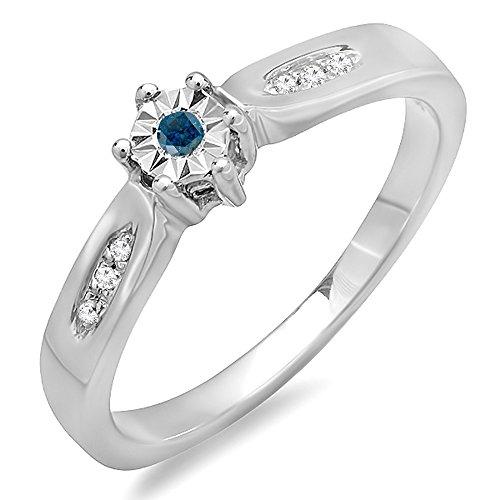 DazzlingRock Collection Anillo de compromiso nupcial de compromiso de plata de 0.06 quilates (CTW) redondo azul y diamantes mujer 4
